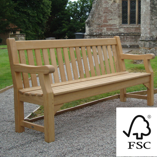 6ft FSC certified roble Royal Park memorial bench with carved inscription - 1.8m memorial bench