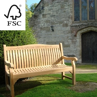 5ft FSC certified teak windsor bench with carved inscription - 1.5m memorial bench