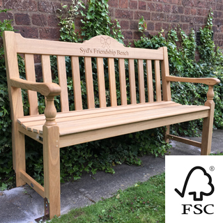 5ft FSC certified roble rose garden bench with carved inscription - 1.5m memorial bench