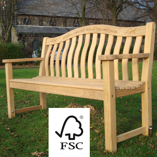 5ft FSC certified roble turnberry park bench with carved inscription - 1.5m memorial bench