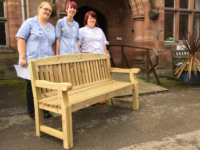 4memorialbench 5ft redwood cardiff park bench with carved ...