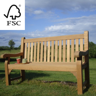 5ft FSC certified teak kenilworth bench with carved inscription - 1.5m memorial bench