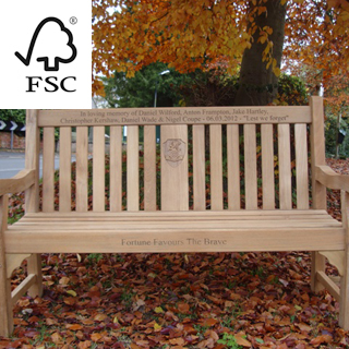5ft FSC certified teak kenilworth bench with CENTRAL PANEL with carved inscription - 1.5m memorial bench