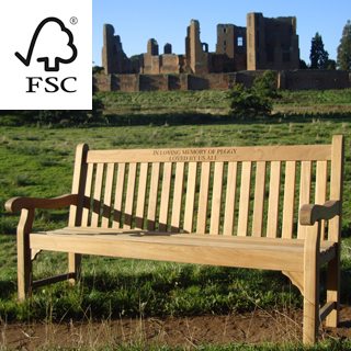 6ft FSC certified teak kenilworth bench with carved inscription - 1.8m memorial bench