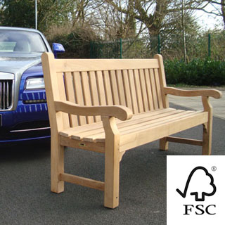 personalised 6ft FSC certified teak edinburgh bench with carved inscription - 1.8m memorial bench