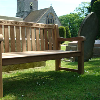 5ft teak britannia park bench with carved inscription - 1.5m memorial bench