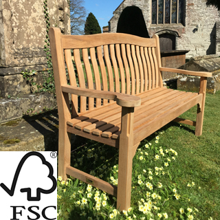 4ft FSC certified teak oxford bench with carved inscription - 1.2m memorial bench