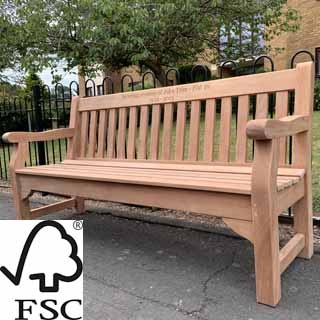 6ft FSC certified mahogany Royal Park memorial bench with carved inscription - 1.8m memorial bench