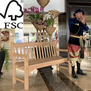 5ft FSC certified teak rochester park bench with carved inscription - 1.5m memorial bench
