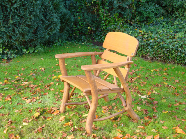 4memorialbench Rustic Oak Armchair With Carved Inscription