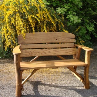 4ft rustic oak garden bench with carved inscription - 1.2m memorial bench