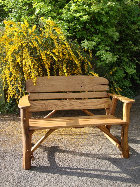 4memorialbench 4ft rustic oak garden bench with carved ...