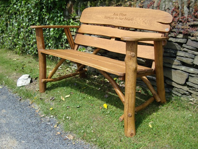 memorial benches rustic oak bench 1200. Black Bedroom Furniture Sets. Home Design Ideas