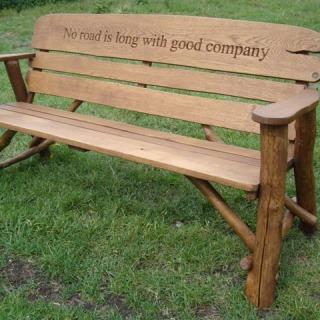 memorial benches - rustic oak bench 1700