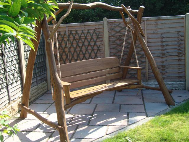 Memorial Benches Rustic Oak Memorial 3 Seater Swing Seat