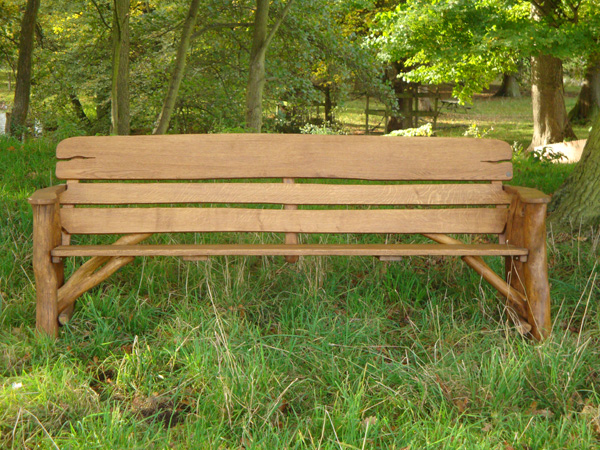 memorial benches - rustic oak bench