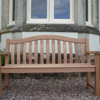 5ft FSC certified mahogany turnberry park bench with carved inscription - 1.5m memorial bench
