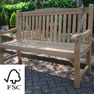 5ft FSC certified teak warwick bench with carved inscription - 1.5m memorial bench
